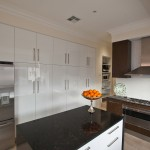 Gloss white kitchen cabinetry, retro kitchen design